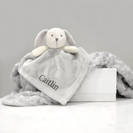 Personalised Grey Puppy Comforter and Blanket Gift Set